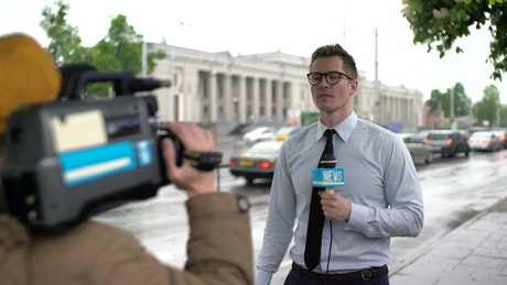 News reporter live on the street