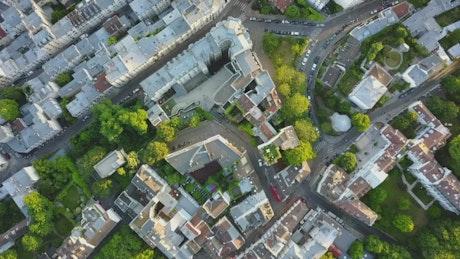 Nice neighborhood in Paris, top shot