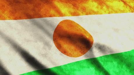 Niger waving 3D faded flag
