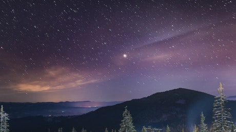 Night landscape of the Milky Way in the mountains