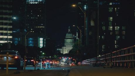 Night movement of a main avenue of a big city