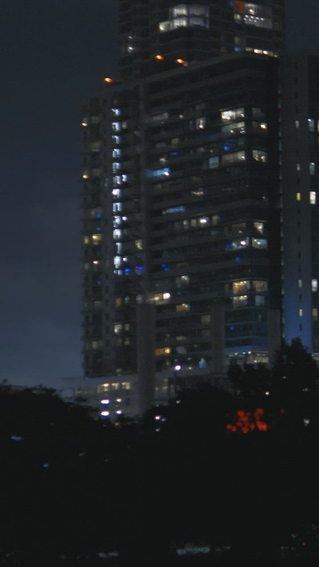 Night panorama of the skyscrapers of a big city