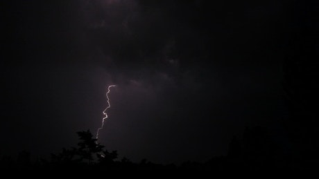 Night sky light with lightning storm