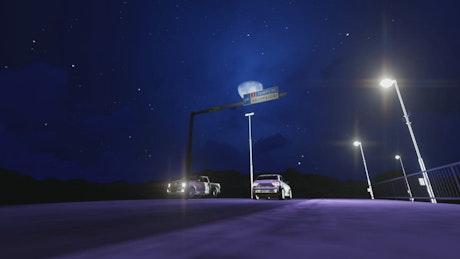 Night traffic 3D render, ground view
