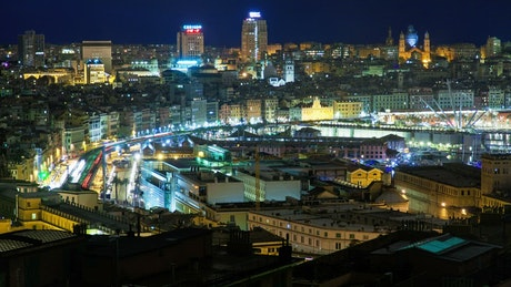 Night traffic in Genova Italy