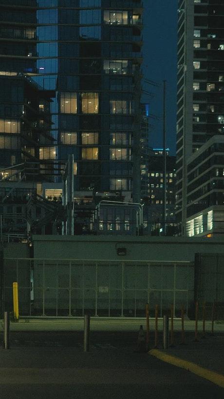 Night walk through the streets of a big city