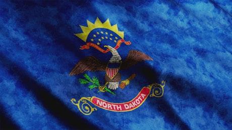North Dakota waving flag, USA flag