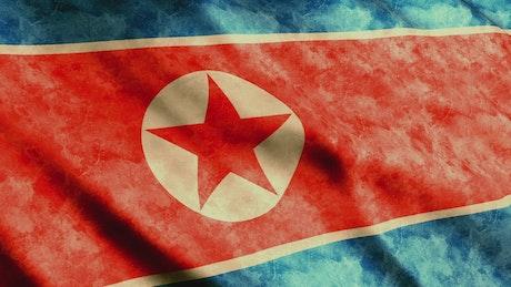 North Korea flag, 3D animation