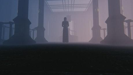 Nun in an old church, 3D render