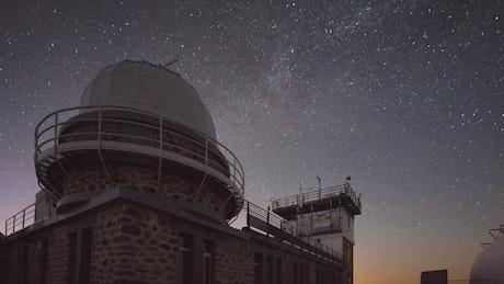 Observatory under a starry sky