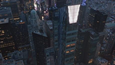 Office buildings in Manhattan, aerial shot