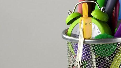 Office equipment in a little basket