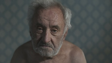 Old and depressed man, portrait