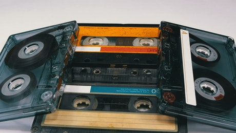 Old audio cassettes spinning