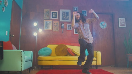 Old fashioned man dancing in the living room