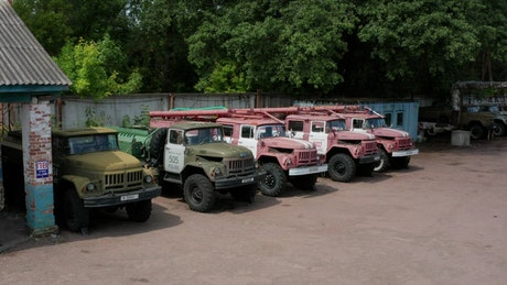 Old fire engines left in Chernobyl