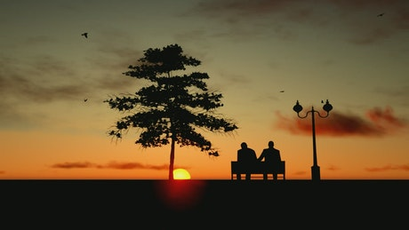 Old friends watching the sunset