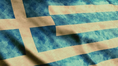 Old Greece flag waving