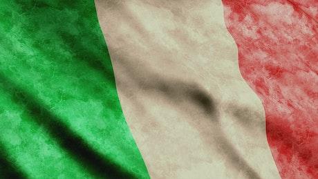 Old Italian flag waving
