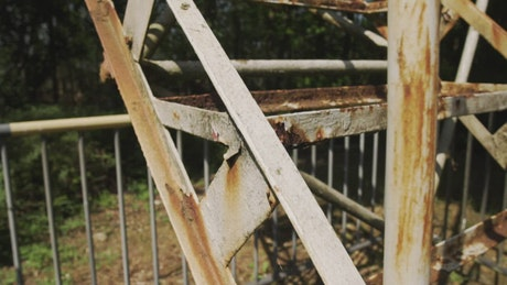 Old rusty and deteriorated staircase seen in detail
