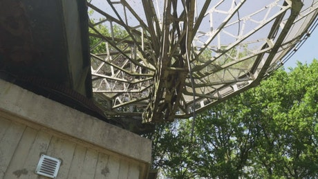 Old satellite dish seen from below surrounded by trees