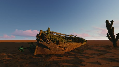 Old ship in the sand of a desert