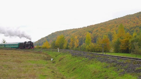 Old steam train approaching