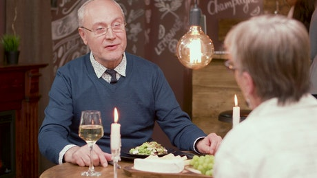 Older man chats about wedding and proposes on date