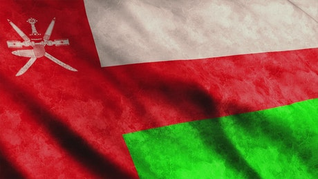 Oman flag from Asian continent, 3D