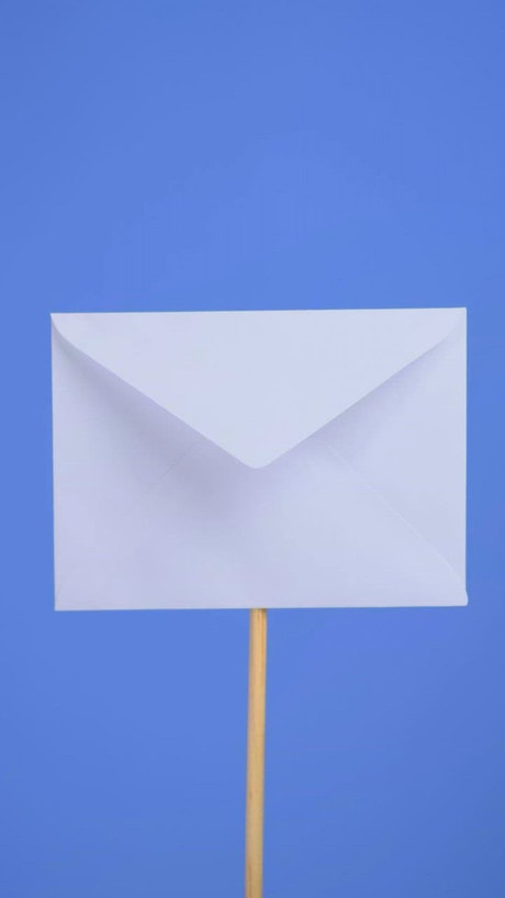 Opening a white envelope on a blue background
