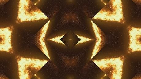Orange lava-like lights moving through a prism