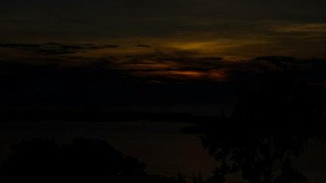 Orange sunrise over the water