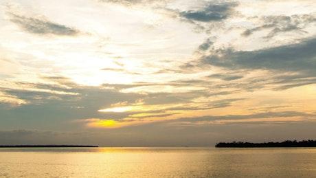 Orange sunset beyond the horizon