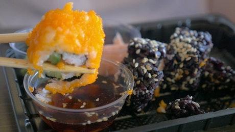 Orange Sushi and Wasabi