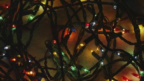 Ornamental Christmas lights in a dark room