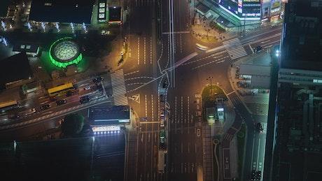 Osaka city crossroads from above