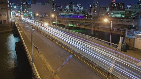 Osaka city highway fast traffic
