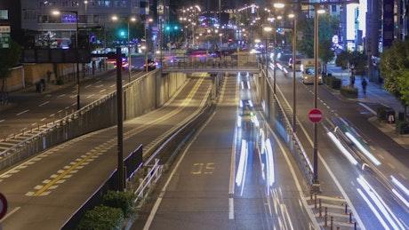 Osaka city roads at night