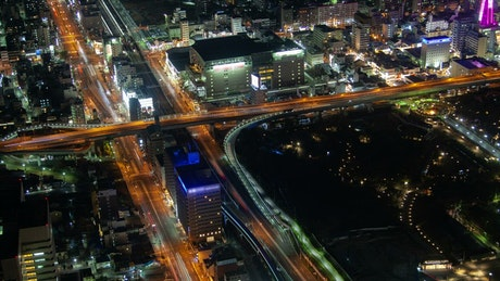Osaka highway crossing at night