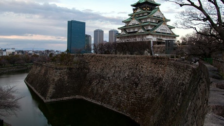 Osaka historic castle time lapse