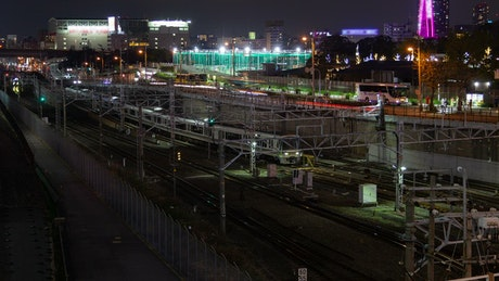 Osaka train traffic and city lights