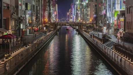 Osaka water canal in a residential area
