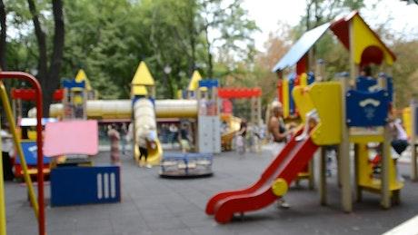 Outdoor children's playground, blurred shot