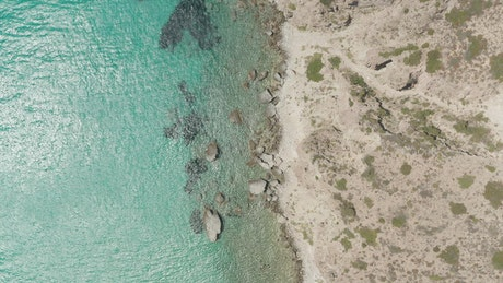 Overhead top down aerial of the coast