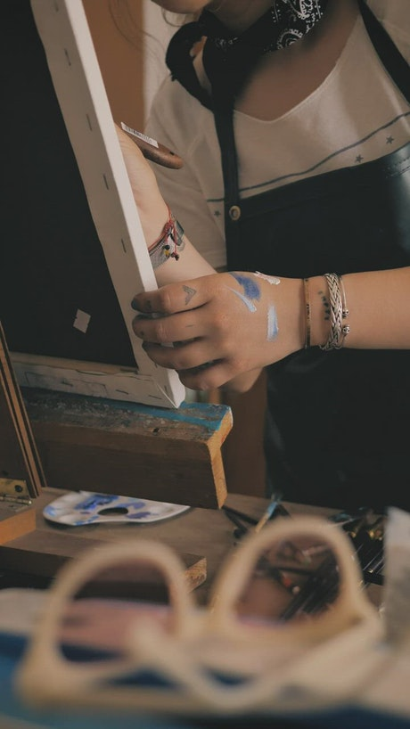 Painting on a canvas on a wooden easel