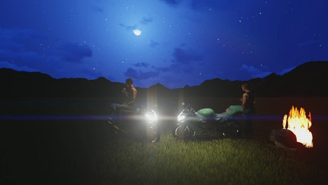 Pair of 3D motorcyclists resting around a campfire