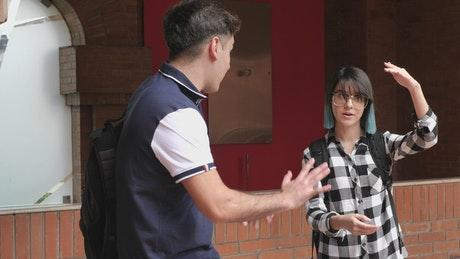 Pair of male and female students talking