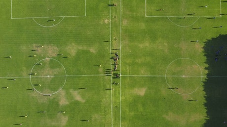 Pair of soccer court in a view from above