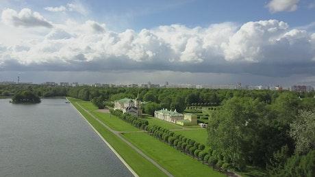 Palace grounds by a lake
