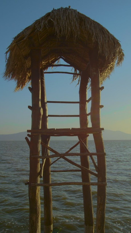 Palm frond lifeguard station